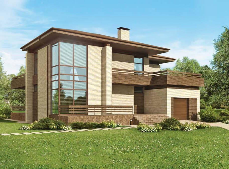 Das Projekt Ist Zweistöckiges Haus Mit Einem Geräumigen Balkon U201eArnikau201c