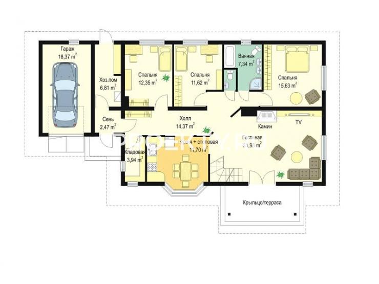План проекта Д05 с гаражом